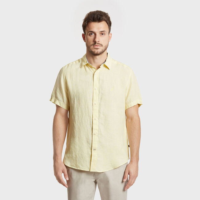Solid Linen Short Sleeve Classic Fit Shirt,Sunshine,large