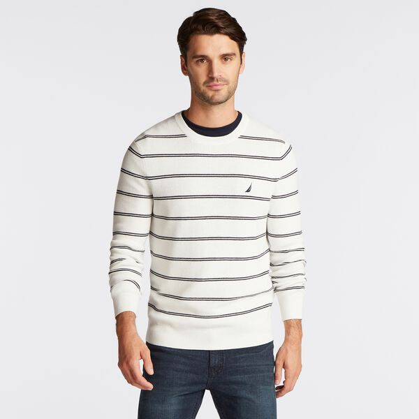 DOUBLE STRIPE CREWNECK NAVETECH SWEATER - Marshmallow