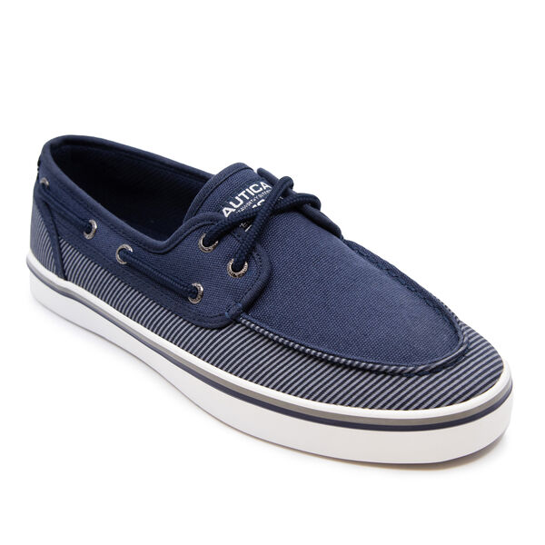 STRIPED BOAT SHOE - Navy