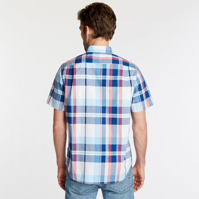 NAVTECH CLASSIC FIT SHORT SLEEVE PLAID SHIRT,Bright White,large