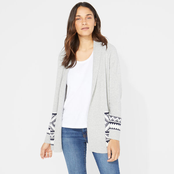 LONG SLEEVE AZTEC PATTERN CARDIGAN - Fog