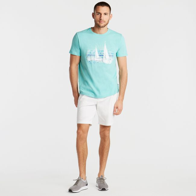 JERSEY T-SHIRT IN SAILING GRAPHIC,Pool Side Aqua,large