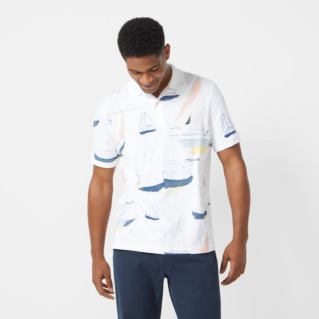 CLASSIC FIT NAUTICAL PRINTED POLO,Bright White,large