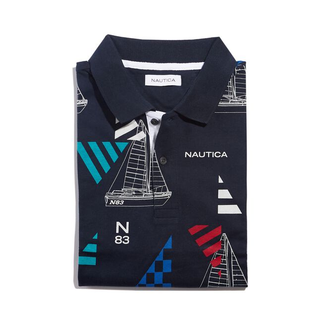CLASSIC FIT PRINTED POLO IN GEO SAILING PRINT,Navy,large