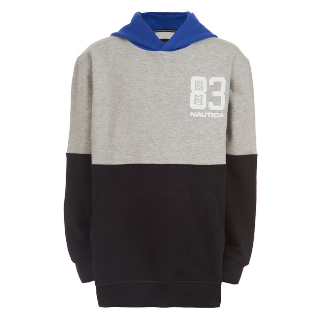 BOY'S COLORBLOCK PULLOVER HOODIE (4 -7),Grey Heather,large