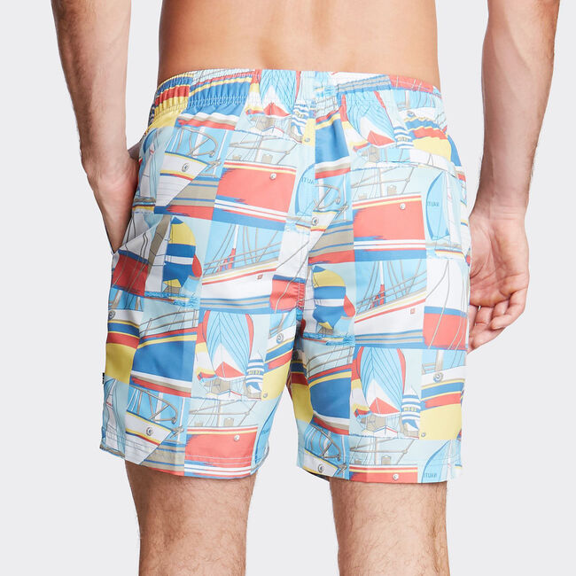 "6"" SWIM TRUNK IN POSTCARD PRINT,Marshmallow,large"