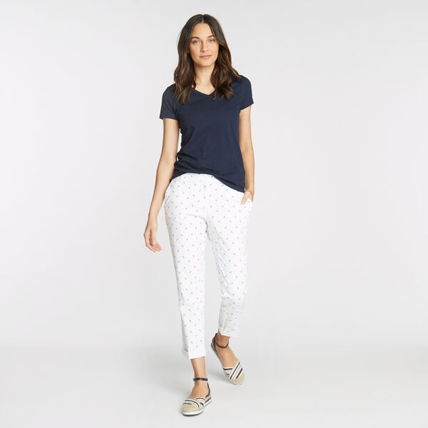 CLASSIC FIT CHINO PANT IN ANCHOR EMBROIDERY - Bright White