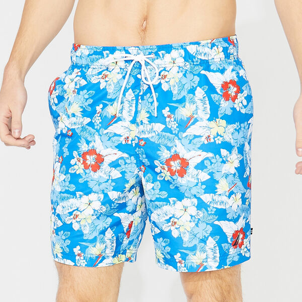 "8"" FLORAL PRINT SWIM TRUNKS - True Navy"