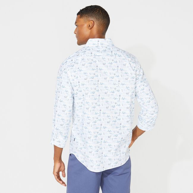 CLASSIC FIT PALM PRINT SHIRT,Bright White,large