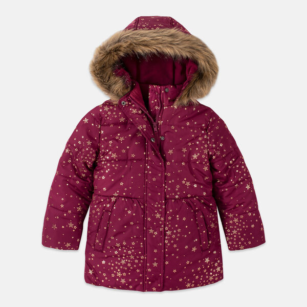 LITTLE GIRLS' FOIL PRINT FAUX-FUR HOOD PUFFER (4-7) - Parfait Pink