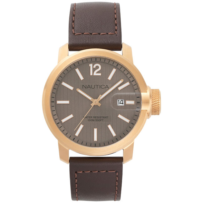 Sydney Leather Date Watch,Multi,large