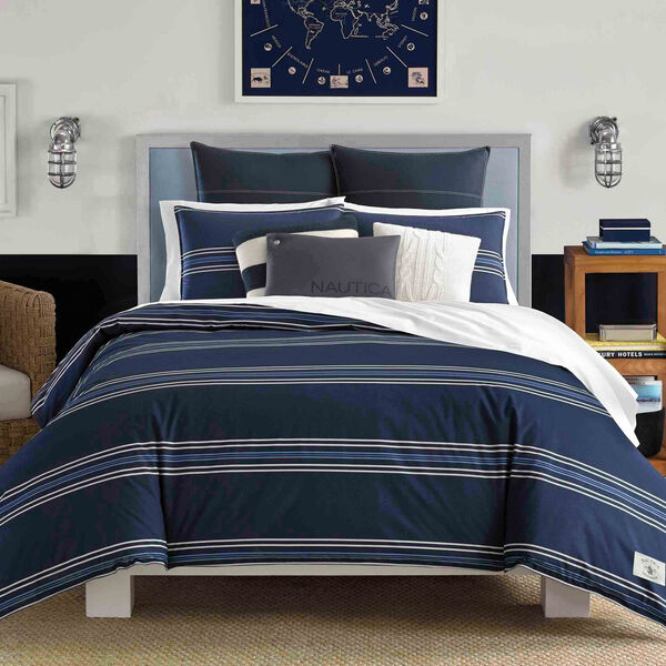 Acton Duvet Twin Set - Navy