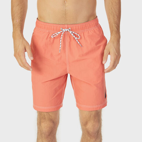 Big & Tall Full-Elastic Solid Swim Trunks - Spiced Coral