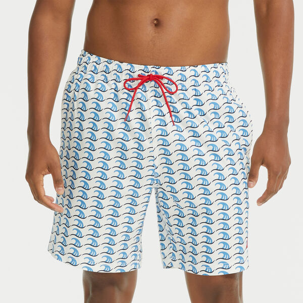 "8"" SUSTAINABLY CRAFTED NAVTECH WAVE ICON PRINT SWIM SHORT - Bright White"