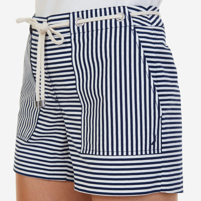 "Windsurf Striped Shorts with Rope Belt - 4"" Inseam,Deep Sea,large"