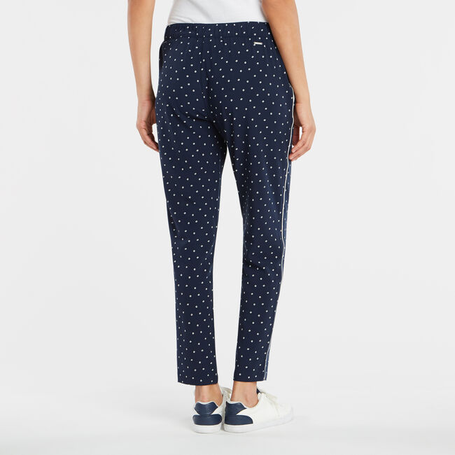 FLORAL PRINTED PULL ON PANT,Stellar Blue Heather,large