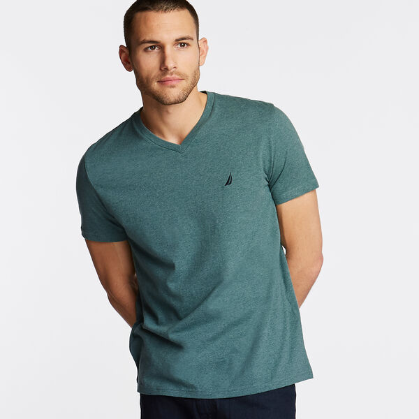 V-Neck Short Sleeve Slim Fit T-Shirt - Kelp