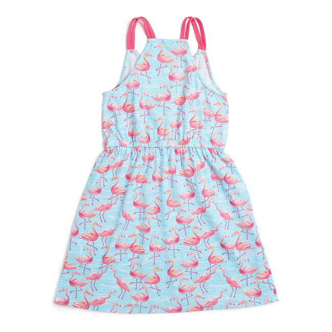 Little Girls' Flamingo Jersey Dress (4-6X),Star Sapphire,large