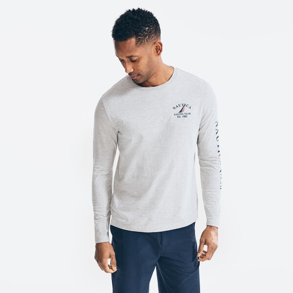SAILING TEAM GRAPHIC LONG SLEEVE T-SHIRT - Grey Heather