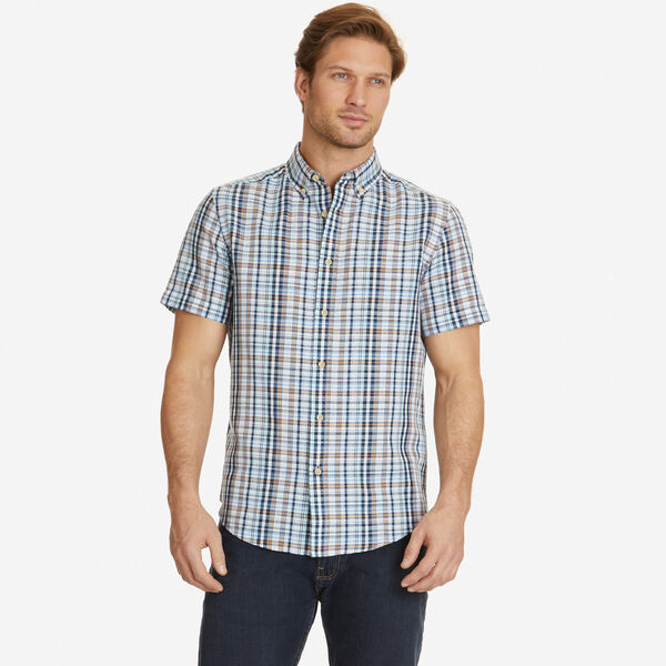 Classic Fit Linen Blend Sea Plaid Short Sleeve Shirt - Bright White