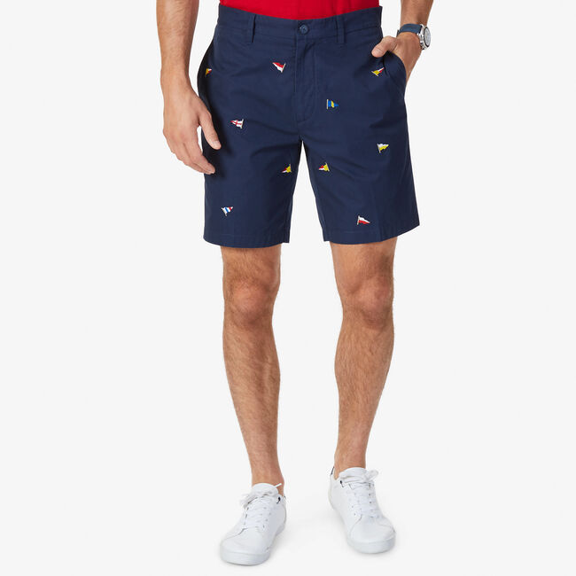 Classic Fit Allover Sailing Flag Short,Navy,large