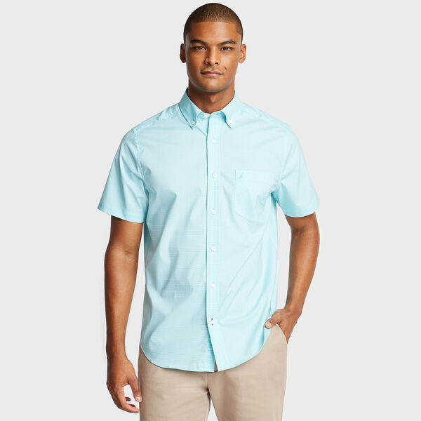 Wrinkle-Resistant Short Sleeve Classic Fit Shirt in Gingham - Sapphire