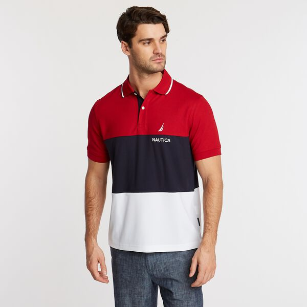 Classic Fit Navtech Colorblock Polo - Nautica Red
