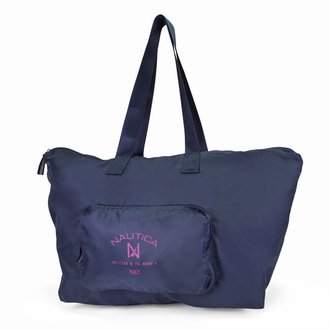 New Tack Logo Packable Large Tote,Ice Blue,large