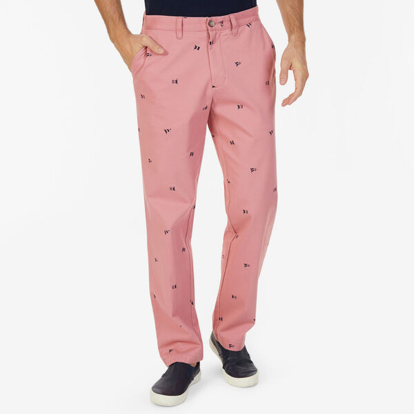 Classic Fit Deck Pant in Sailing Flag Print - Desert Rose