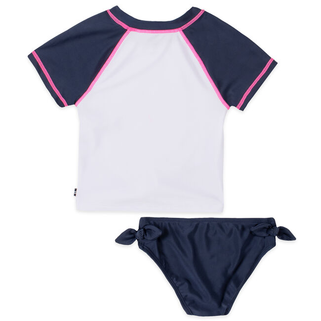 GIRLS' SUNNY DAYS GRAPHIC TIE-FRONT RASH GUARD SET (8-16),Navy,large