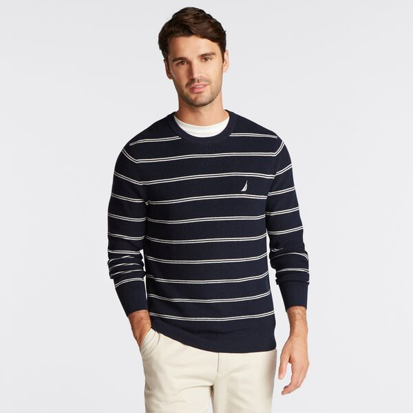 DOUBLE STRIPE CREWNECK NAVETECH SWEATER - Navy
