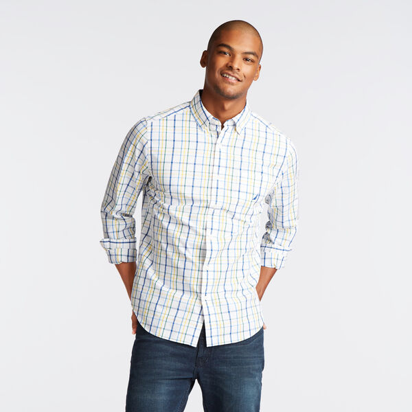 CLASSIC FIT POPLIN SHIRT IN BRIGHT OPEN PLAID - Bright White