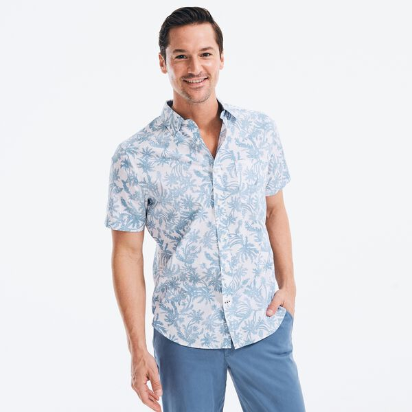PALM TREE PRINT SHORT SLEEVE OXFORD SHIRT - Bright White