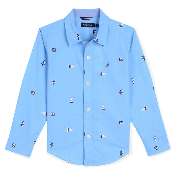 Toddler Boys' Aloha Chambray Shirt in Flag Print (2T-4T) - Classic Blue