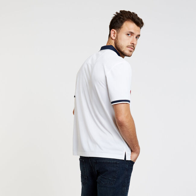 Vertical Stripe Classic Fit Short Sleeve Heritage Polo,Bright White,large