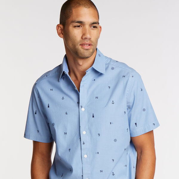 Short Sleeve Classic Fit Oxford Shirt in Anchor Print - Riviera Blue