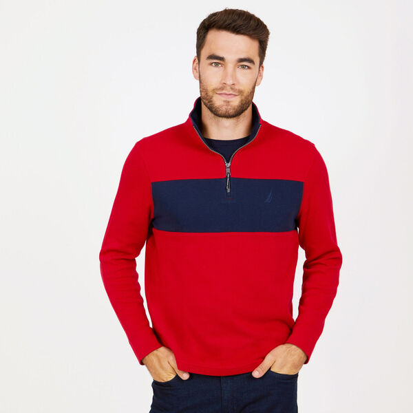 Colorblock Quarter-Zip Mock-Neck Active Top - Nautica Red