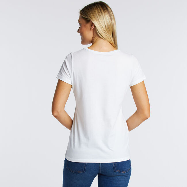 Striped + Palm Leaf Scoop-Neck T-Shirt,Bright White,large