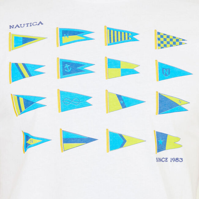 HERITAGE SAILING FLAGS GRAPHIC T-SHIRT,Bright White,large
