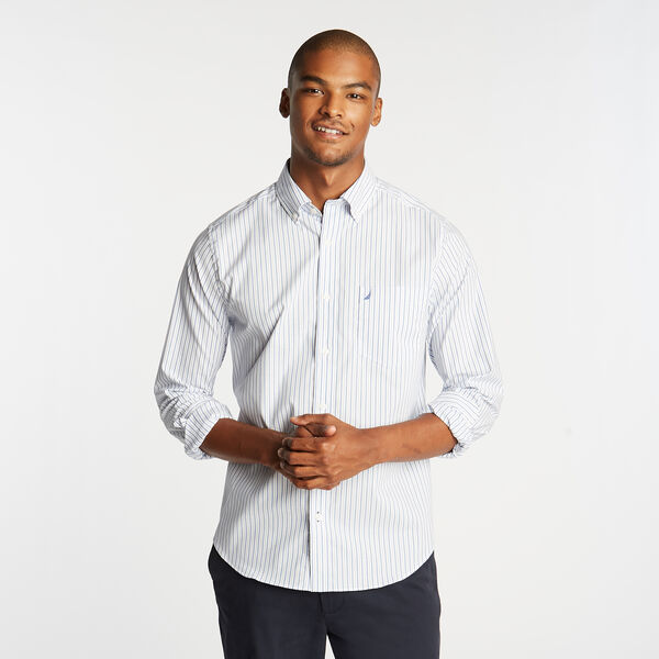 Wrinkle-Resistant Poplin Shirt in Stripe - French Blue