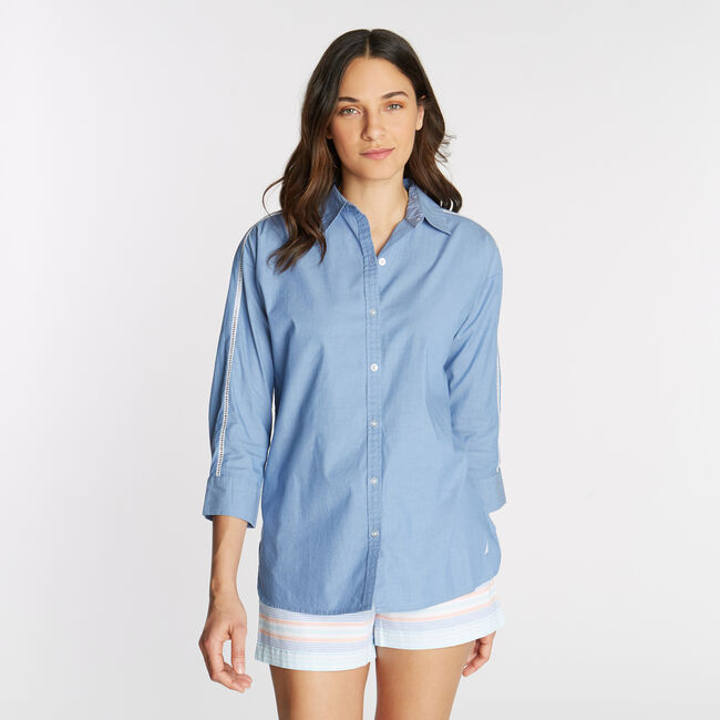 Classic Fit Chambray Tunic Shirt,Limoges,large