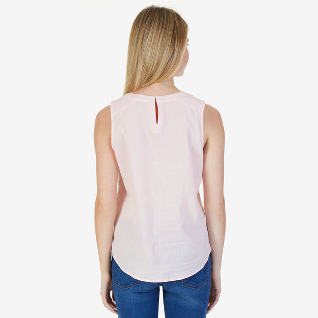 Embroidered Collar Sleeveless Top,Ablaze,large