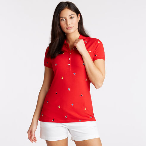 Embroidered Flag Motif Polo - Tomales Red