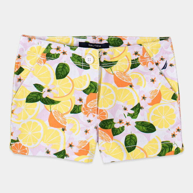 TODDLER GIRLS' FRUIT PRINTED TWILL SHORTS (2T-4T),Limelight,large