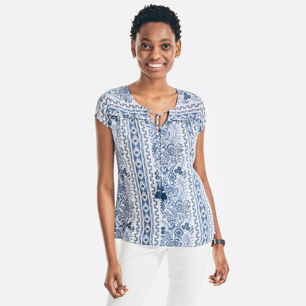 SUSTAINABLY CRAFTED FLORAL TASSLE-TIE TOP - Nautica Blue