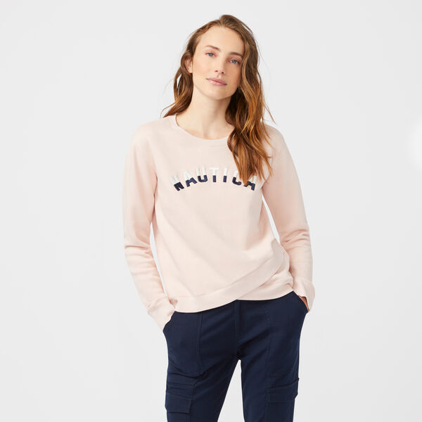 CROSSOVER HEM LOGO SWEATSHIRT - New Pink