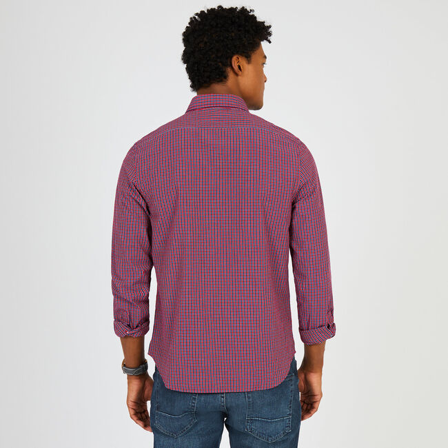 Long Sleeve Slim Fit Check Button Down,Nautica Red,large