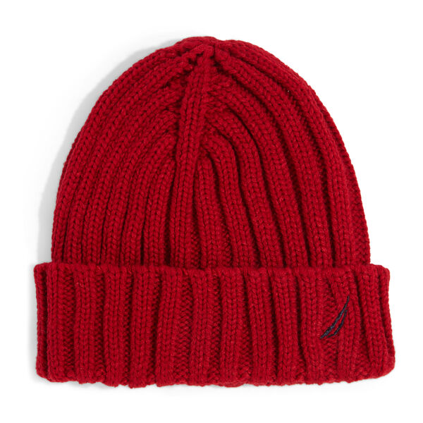 RIBBED KNIT CUFF HAT - Nautica Red