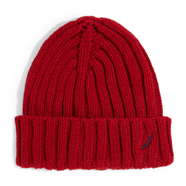 RIBBED KNIT CUFF HAT,Nautica Red,large