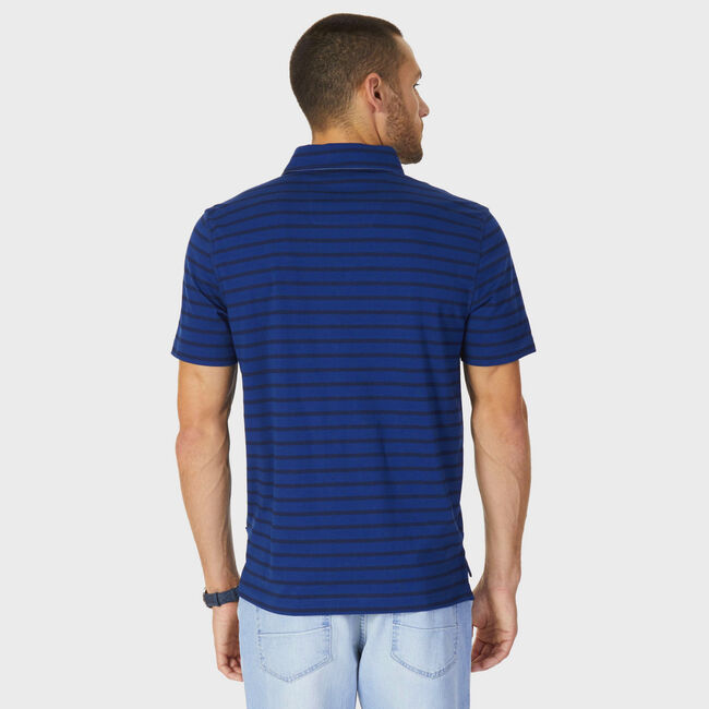 Classic Fit Striped Polo Shirt,Estate Blue,large